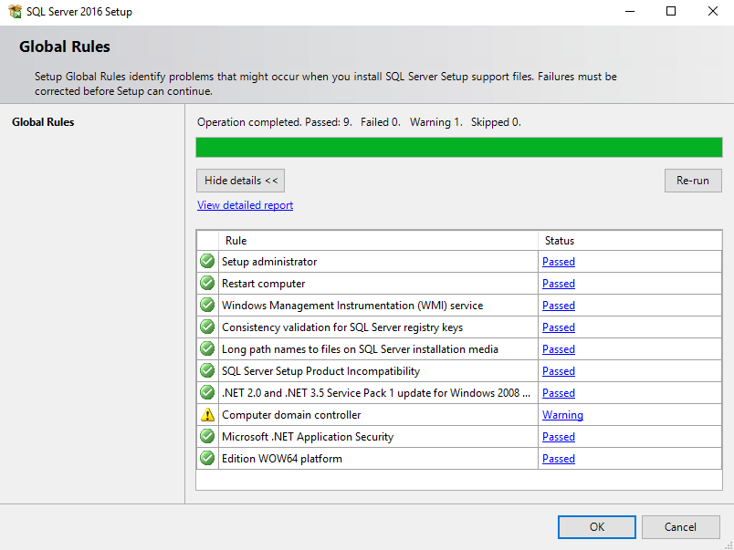 SQL Server installation system check