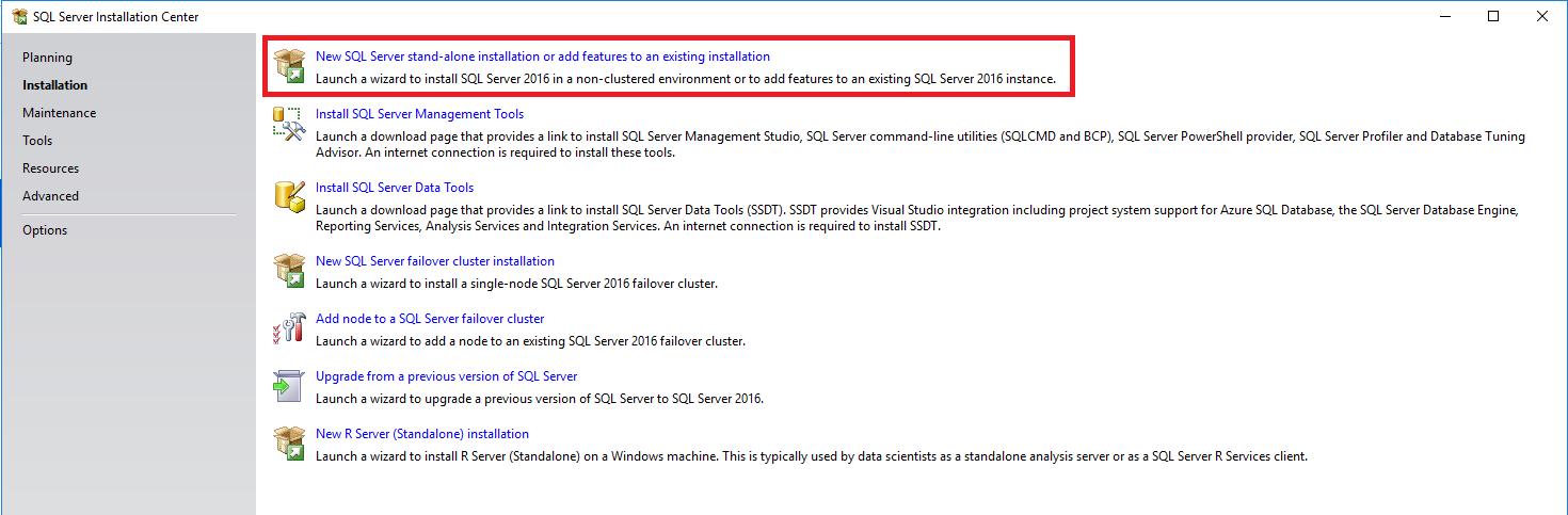 SQL installatie selectie