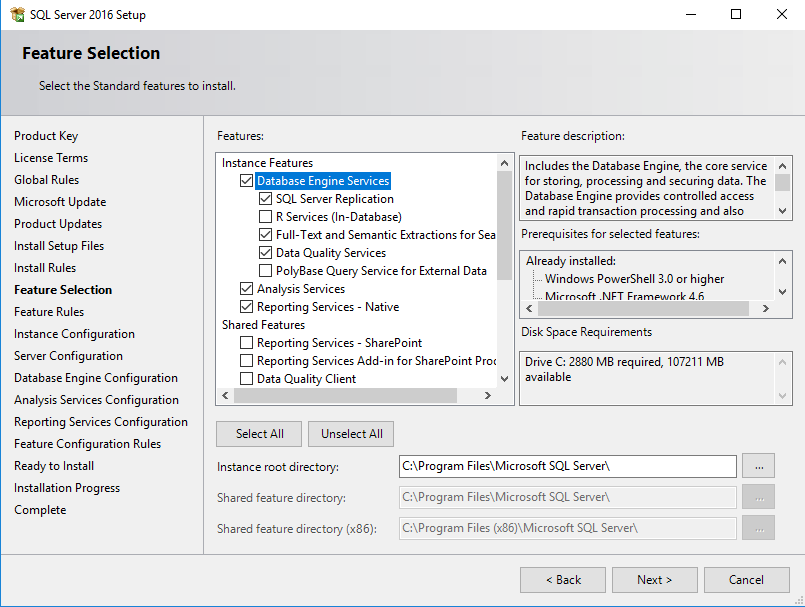 SQL Server installation features selectie