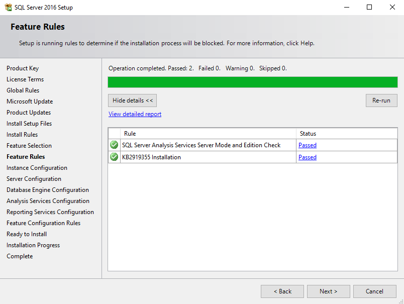 SQL Server installation feature rules