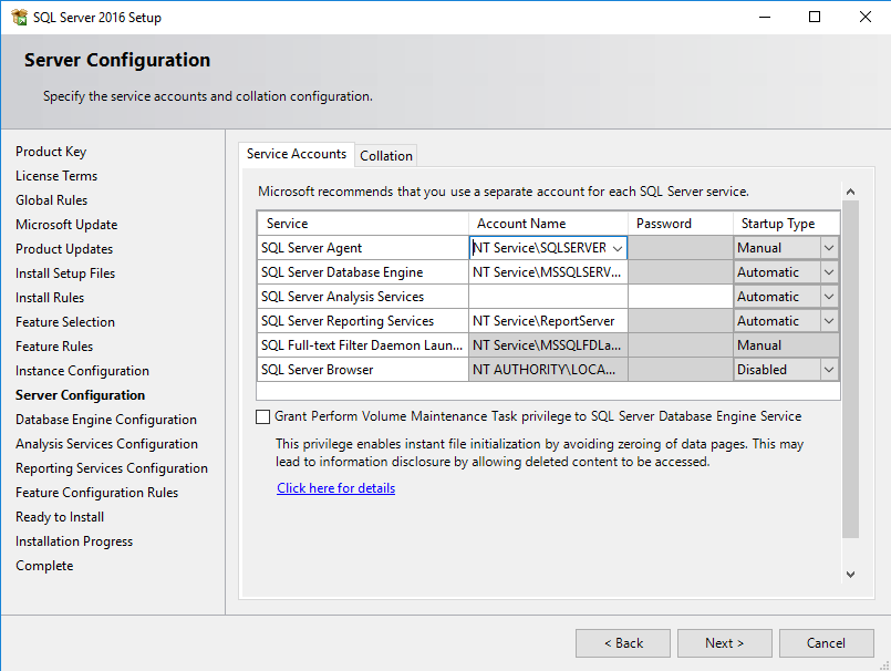 SQL Server installation configuratie