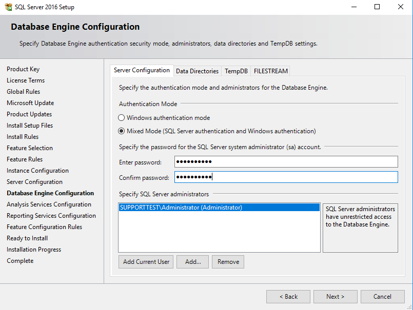 SQL Server Database Engine Server configuratie