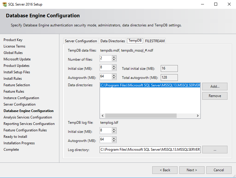 SQL Server Database Engine Configuration tempDB