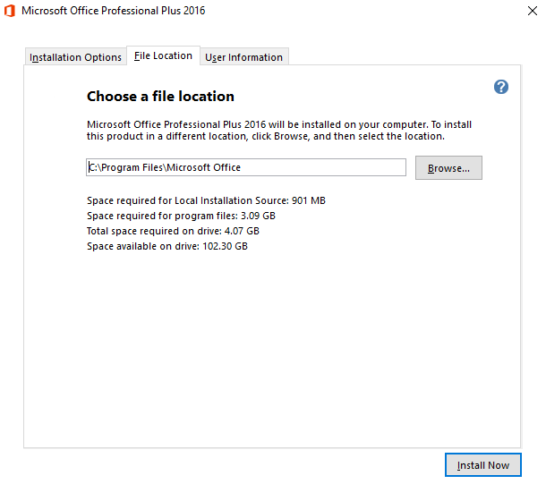 office 2016 installation file location