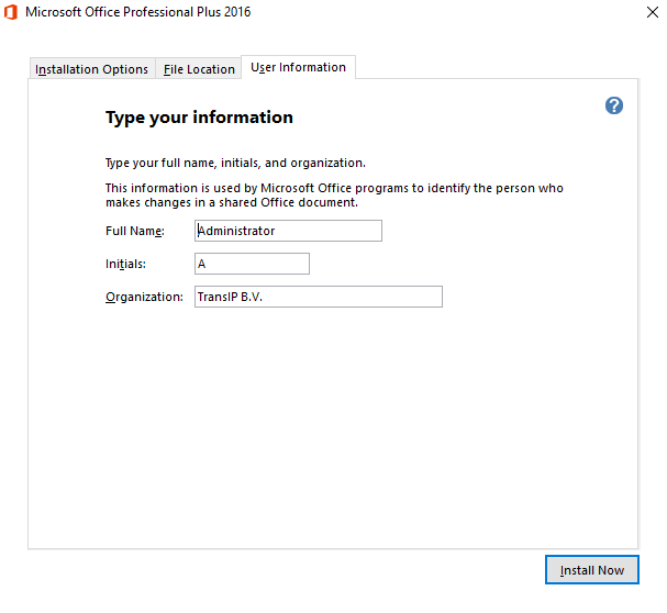 Office 2016 Installation user information
