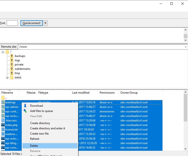 Sla belangrijke bestanden op en verwijder dan de inhoud van de map