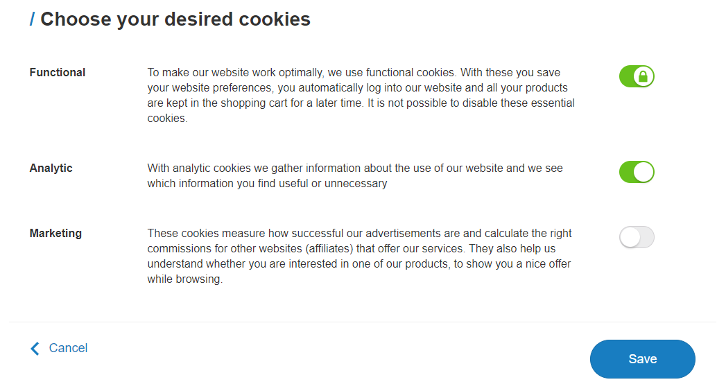Cookie settings
