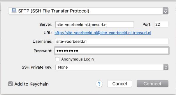 Vul hier de inloggegevens van SFTP in