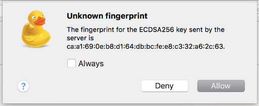 Bevestig nu de unknown fingerprint