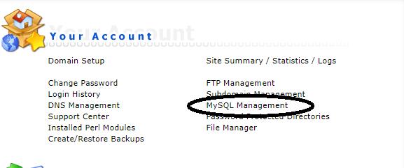 DirectAdmin SQL management