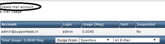 DirectAdmin create email address