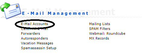 DirectAdmin email accounts