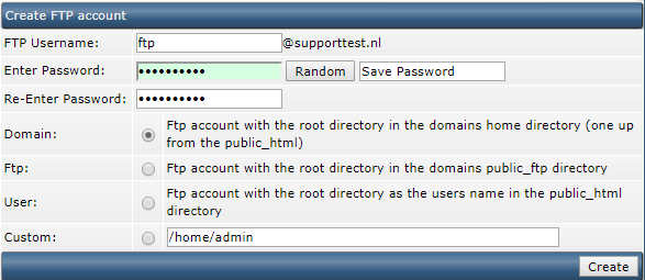 DirectAdmin create FTP account