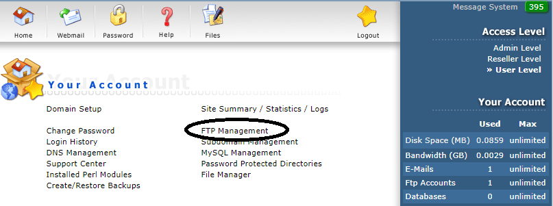 DirectAdmin FTP management