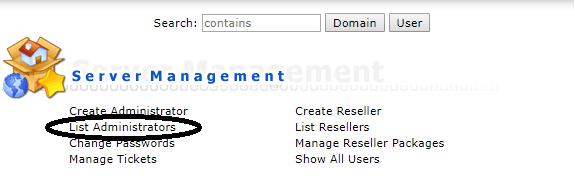 DirectAdmin List Administrators knop