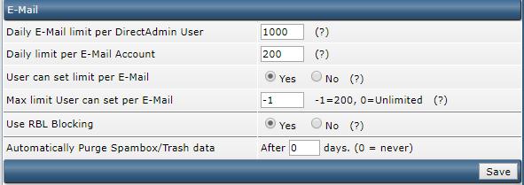 DirectAdmin change mail limit
