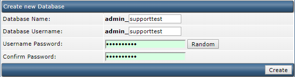 DirectAdmin database settings