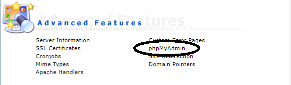 DirectAdmin phpMyAdmin