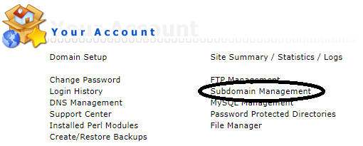 DirectAdmin subdomain management