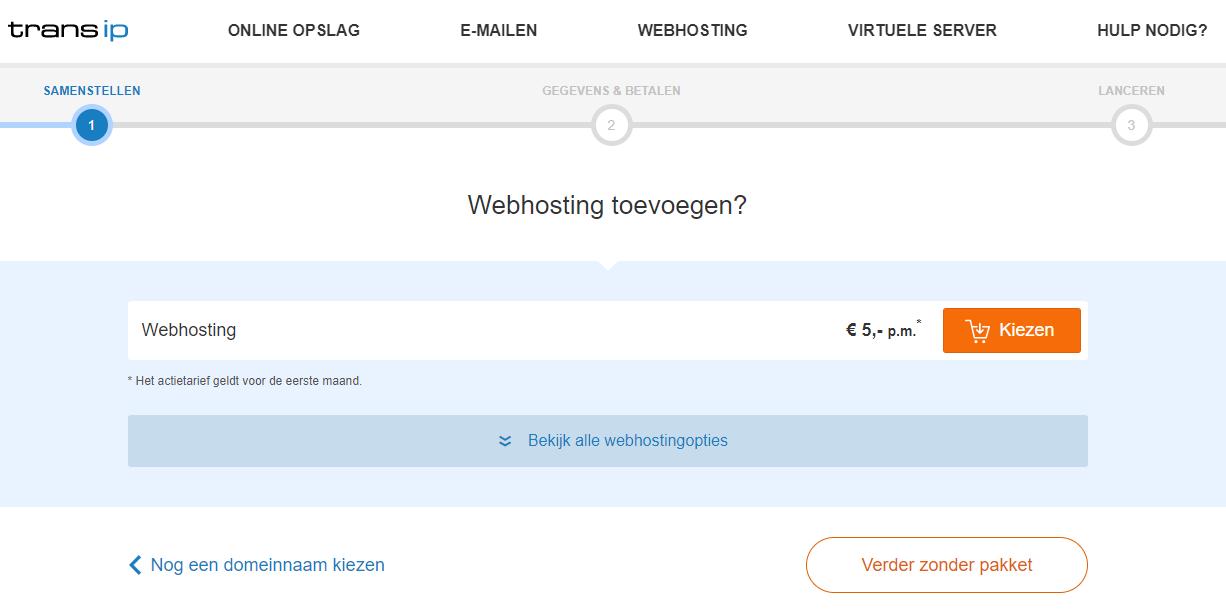 Kies een webhostingpakket