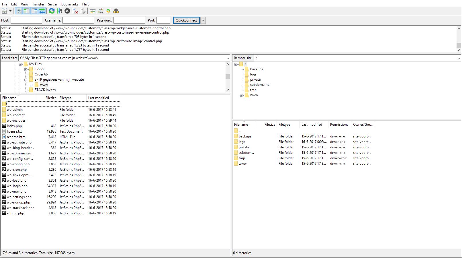 De bestanden worden naar de doelmap gedownload