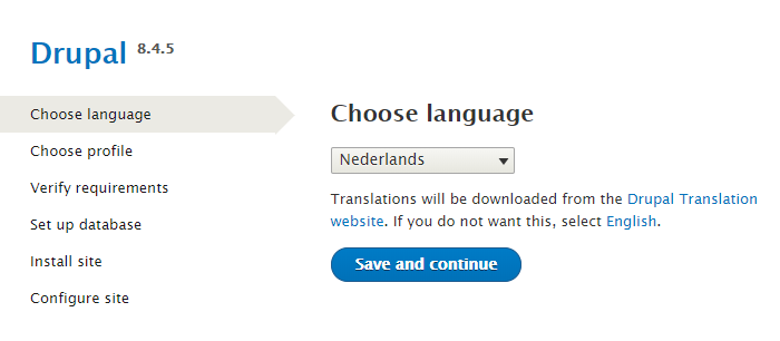Drupal taal selectie
