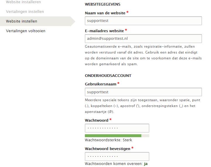 Drupal website instellen