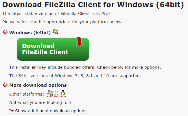 Choose the Filezilla client