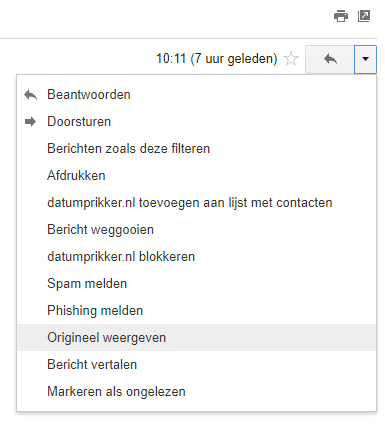 Headers van Gmail