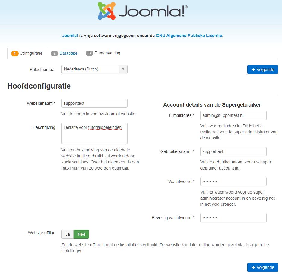 Joomla configuratie