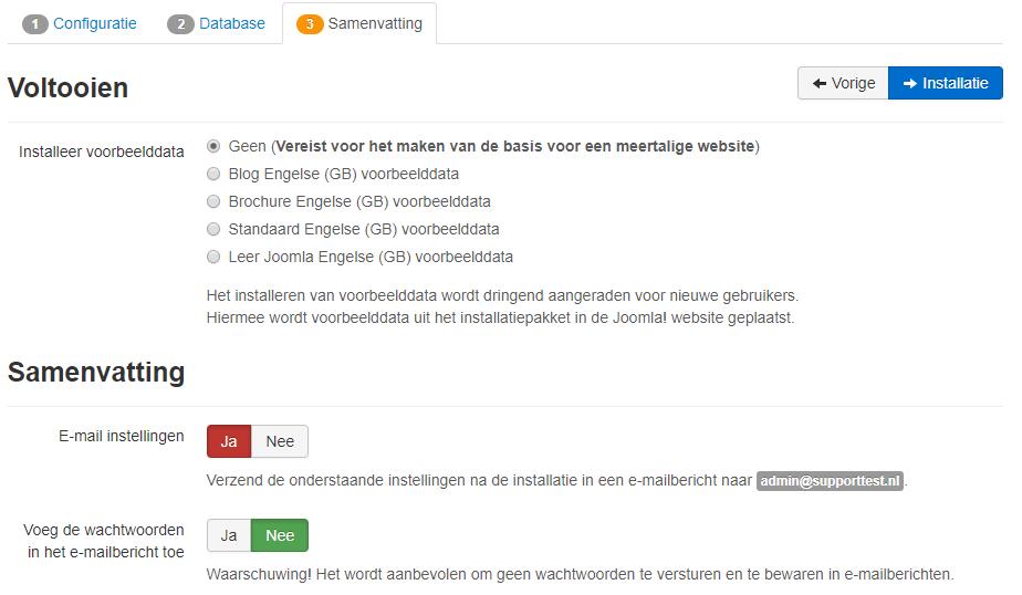 Joomla start installation