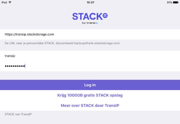 Inlogscherm STACK iOS app