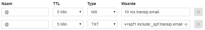 Voorbeeld van MX en SPF records