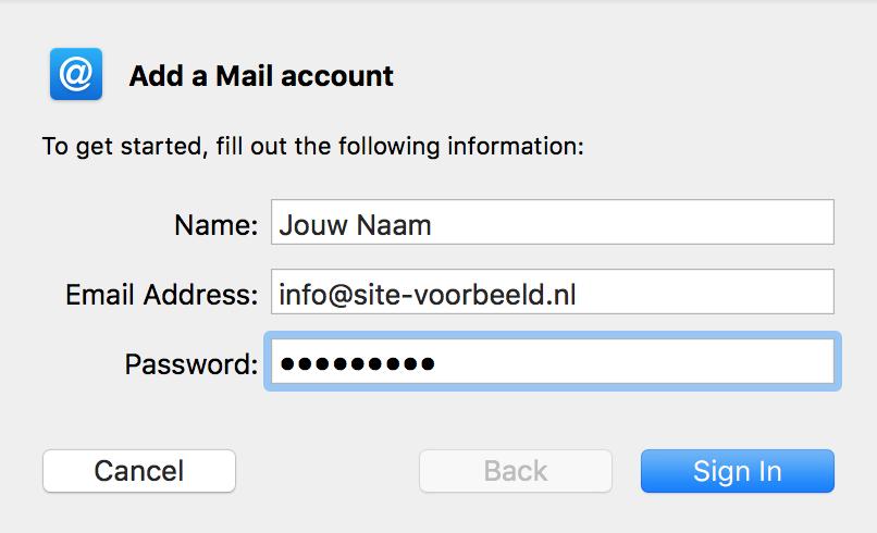 Vul de algemene gegevens van je e-mailadres in