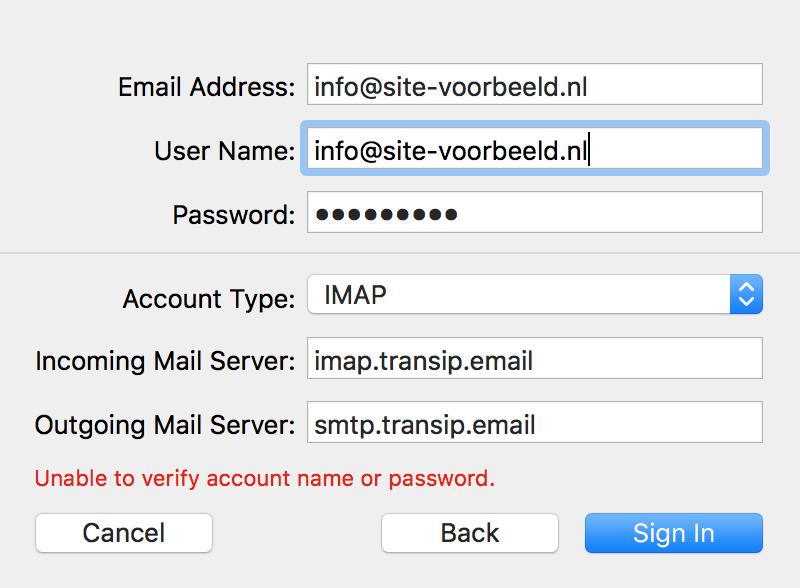 Vul nu de aanvullende gegevens van je e-mailadres in