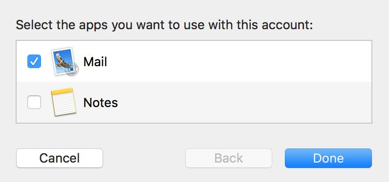Kies welke apps je aan het e-mailaccount wil koppelen