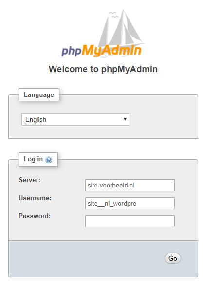 Log hier in op phpMyAdmin