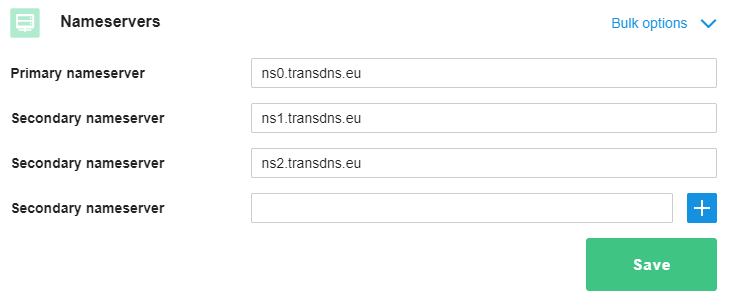 Example of nameservers in the control panel
