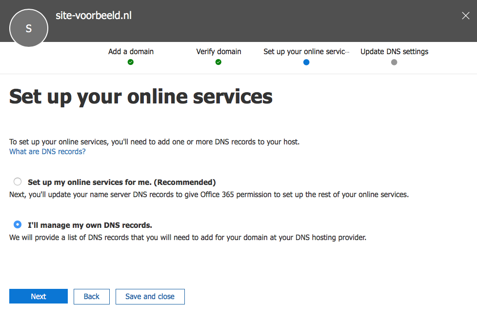 office 365 set up online services