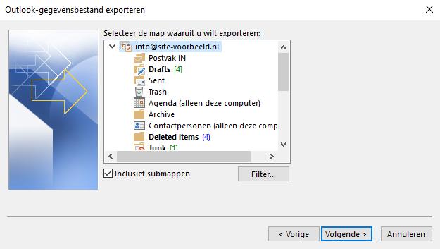 Kies de naam van het e-mailaccount dat je wil exporteren