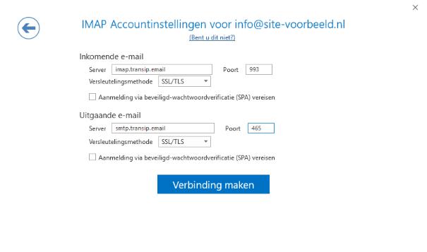 De IMAP instellingen van jouw e-mailadres