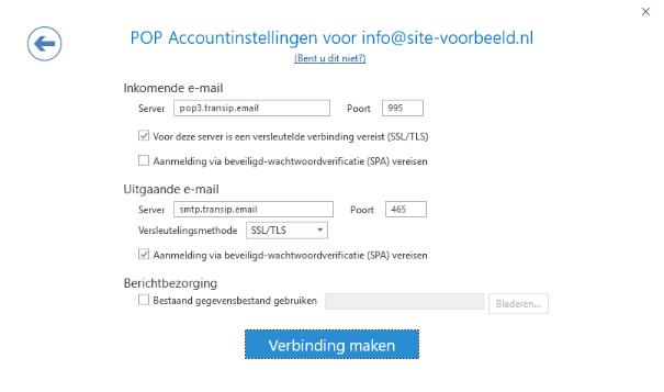 De POP3 instellingen van jouw e-mailadres