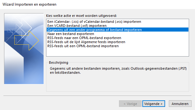 Kies 'Gegevens uit een ander programma of bestand importeren' en klik op 'Volgende'