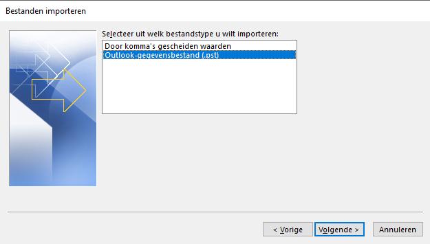 Kies 'Outlook-gegevensbestand (.pst)' en klik op 'Volgende'