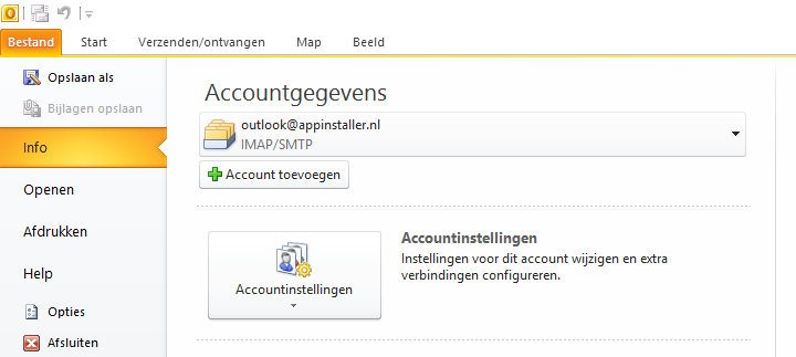 Accountinstellingen in Outlook 2010