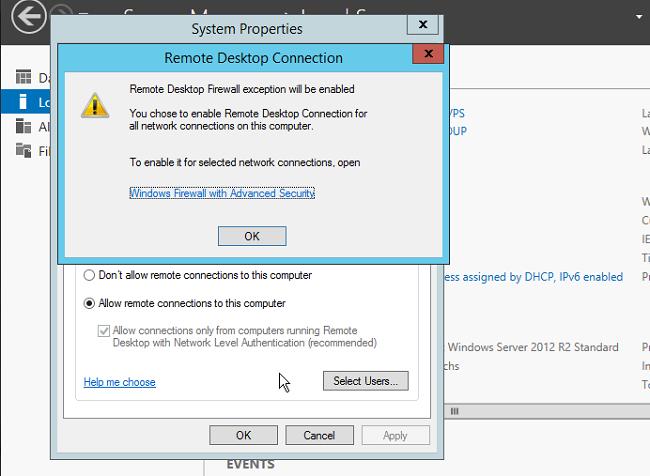 windows 2012 remote desktop enabled