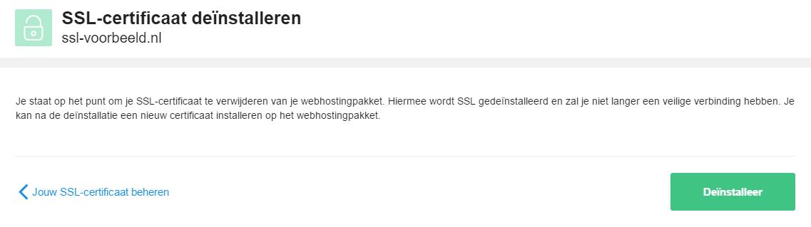 Bevestig hier de verwijdering van je SSL certificaat