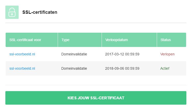 Het certificaat is nu verlengd
