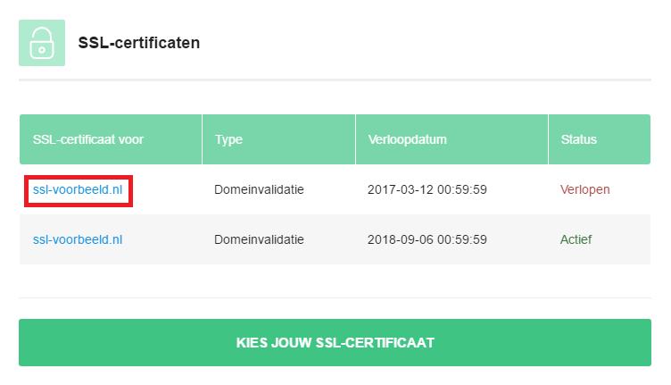 Klik op het verlopen certificaat