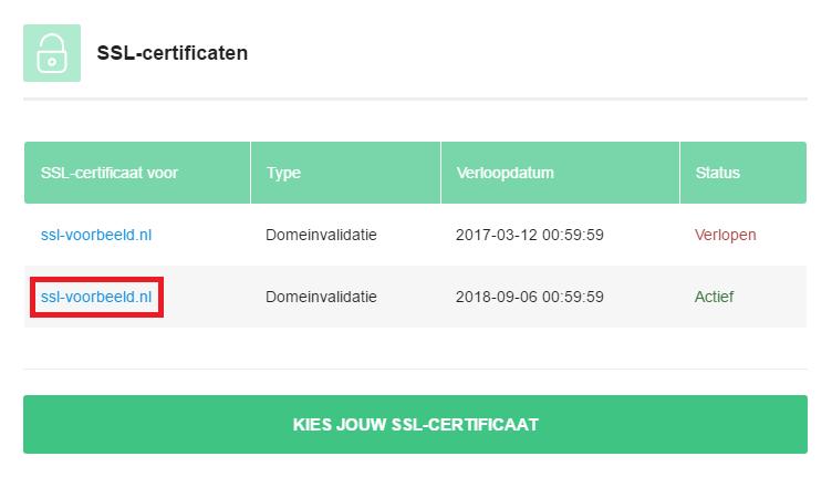 Klik op het actieve certificaat